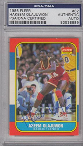 - Akeem Hakeem Olajuwon Houston Rockets 1986 Fleer Signed AUTOGRAPH - PSA/DNA Certified - Basketball Slabbed Autographed Rookie Cards