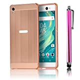 Xperia XA Ultra Case, Bonice Premium Luxury Super Stylish Edge Shockproof Metal Frame + Acrylic PC Back Case Bumper Protective Case for Sony Xperia XA Ultra / Xperia C6 Ultra + Stylus Pen, Rose Gold