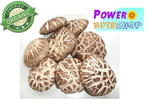 GROWN ORGANICALLY PREMIUM DRIED TEA COLOR ORGANIC SHIITAKE MUSHROOM4-5 cm,GRADE A++,1 LB (16OZ) by PowerNutri Shop