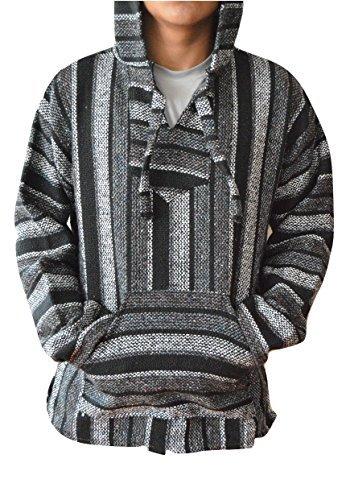 Mexican Baja Hoodie Pullover Jerga Drug Rug Sweater - Grey Black (X-Large)