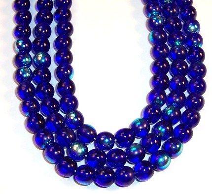 6mm Round Czech Glass Druk Beads - Cobalt Blue AB 50pc