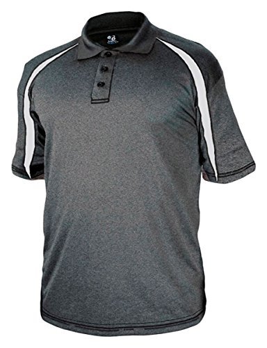 Badger Adult Fusion Three Button Polyester Polo Shirt - Carbon/ White - (Badger Embroidered Hat)