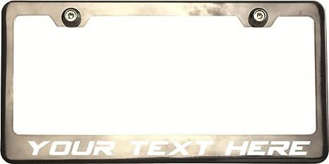 Black Chrome Custom Personalize Laser Engraved License Plate Frame Bracket w//Cap