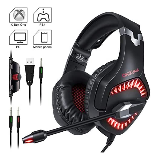 Gaming Headset, ONIKUMA PS4 Gaming Headset 3.5mm Stereo Gaming Headphones with Noise Canceling Mic for Xbox one Computer Laptop Mac PC Smartphone