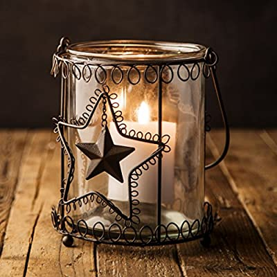 """Lantern Rustic Candle Holder Hurricane Indoor Outdoor Glass Metal Farmhouse (7"""" x 6.5"""")"""