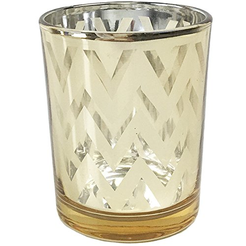 Just Artifacts Glass Votive Candle Holders 2.75''H Chevron Gold (Set of 12) - Glass Votive Candle Holders for Weddings and Home Décor by Just Artifacts