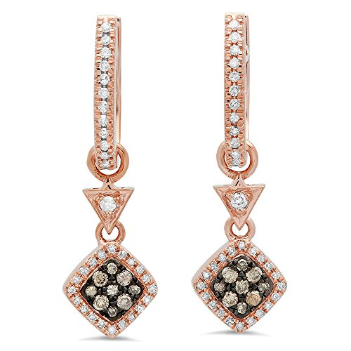 Dazzlingrock Collection 0.50 Carat (ctw) 14K Champagne & White Diamond Ladies Cluster Dangling Drop Earrings 1/2 CT, Rose Gold ()