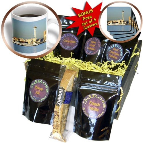 Danita Delimont - Seattle - WA, Seattle, Space Needle and Ferry boat - US48 JWI1087 - Jamie and Judy Wild - Coffee Gift Baskets - Coffee Gift Basket (cgb_95907_1)
