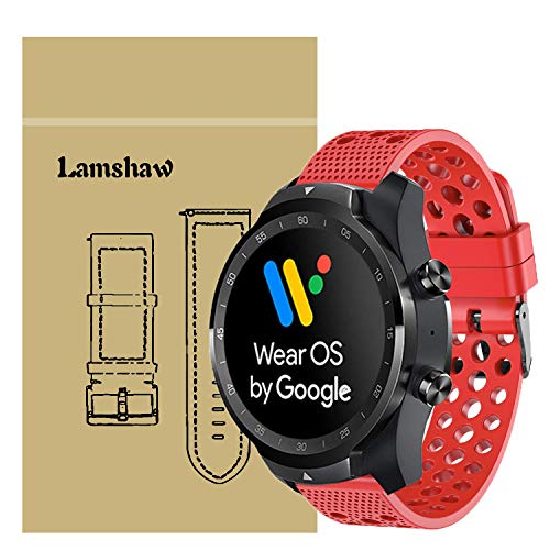 for TicWatch Pro Band, Lamshaw Silicone Replacement Wristbands Sport Strap with Metal Buckle for TicWatch Pro/TicWatch S2 / TicWatch E2 Smartwatch Band (Red)