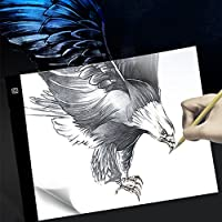 LED Tracing Light Box, A4 Ultra Thin Portable Tracer Lighting Pad for Kid and Adult Artist, Stepless Dimmable Brightness Lightbox, USB Powered Panel Kit Best for Drawing, Sketching, Animation w/ Clips