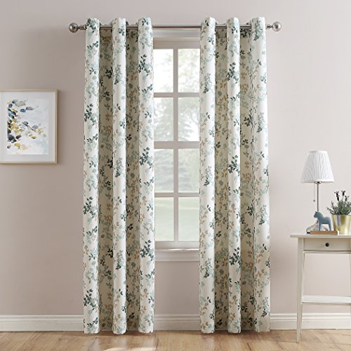 No. 918 Roelyn Floral Print Casual Textured Grommet Curtain Panel, 48