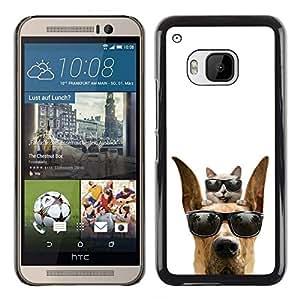 Caucho caso de Shell duro de la cubierta de accesorios de protección BY RAYDREAMMM - HTC One M9 - Gafas de sol frescas del gato y del perro lindo divertido