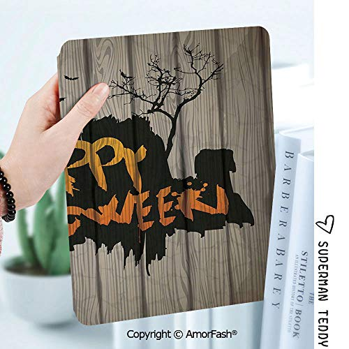 Case for Samsung Galaxy Tab A 8.0 2017 Release for T380/T385,Auto Wake/Sleep,Halloween Decorations Happy Graffiti Style Lettering on Rustic Wooden Fence Scary Evil Artwork]()