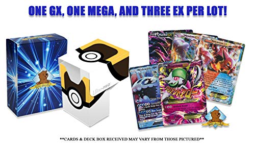 Pack 1 Mega (Pokemon Ultra Rare lot - 5 Random Cards All Ultra Rare! 1 GX 1 MEGA 3 EX Guaranteed! Includes Official Pokemon Deck Box! Golden Groundhog Storage Box!)