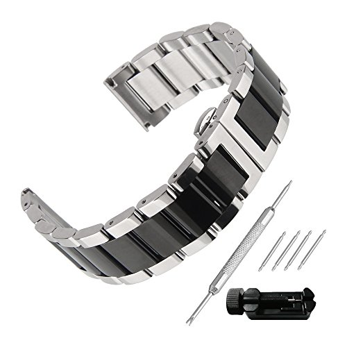 - Beauty7 Polished 22mm Black Silver Solid Stainless Steel Link Watch Band Kit Push Button Butterfly Clasp