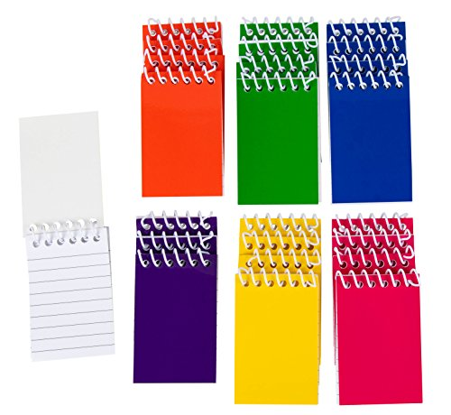 Blue Panda 24-Pack Bulk Mini Spiral Notepads for Kids Party Favors, Lined Paper, 6 Color, 2 x 3.5 Inches -