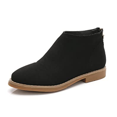 Womens Leather Western Zipper Low Heel Round Toe Suede Ankle Booties