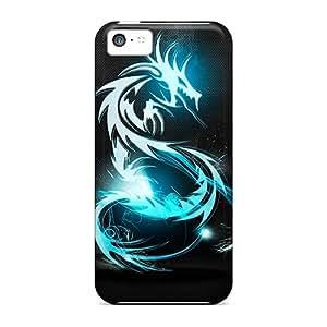 Hot Tpu Cover Case For Iphone/ 5c Case Cover Skin - Dark Blue Dragon