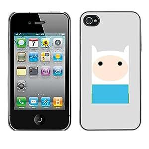 PC/Aluminum Funda Carcasa protectora para Apple Iphone 4 / 4S comic character blue grey cute sweet / JUSTGO PHONE PROTECTOR