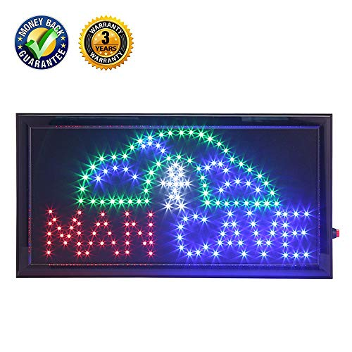 Man Cave Sign (LED Man Cave Sign,Anrookie (19x10inch 110v On/Off withChain) Neon LED Sign Man Cave, 2 Modes for Stationary Lights or Animated, for a Home bar, Basement, or Game Room, Walls, Window, Bar)
