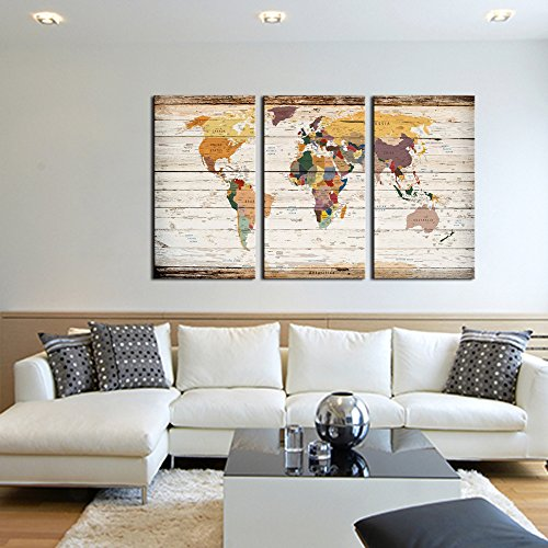 Visual art decor decor xlarge 3 piece retro wood texture push pin visual art decor decor xlarge 3 piece retro wood texture push pin map of world wall art city name picture on canvas framed map modern home office decoration gumiabroncs Image collections