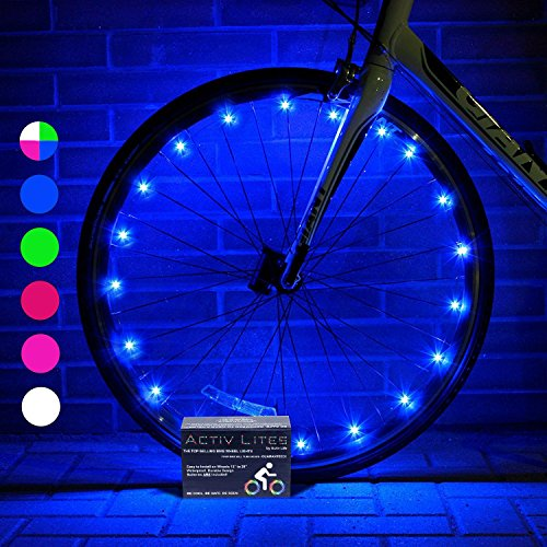 Super Cool Bike Wheel Lights (2 Tires, Blue) Best Christmas Gifts, Stocking Stuffers & Birthday Presents for Boys 3 Year Old + Teens & Men. Top Unique 2017 Ideas for Him, Dad, Brother, Uncle