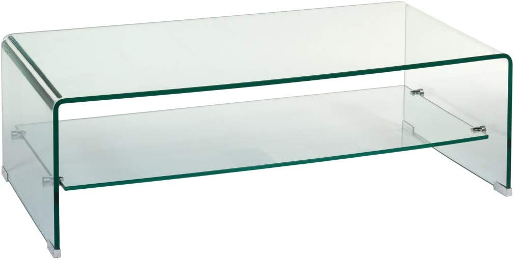WHYNOTHOME Mesa Centro de diseño Challenger, Cristal Curvado, Estante Inferior de Cristal.