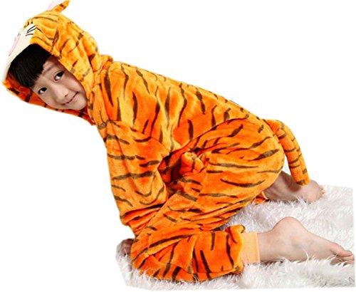 - bettyhome Winter Kids Plush One Piece Tiger Home Dress Hoodies (Tiger, 115#(130)(Height:47