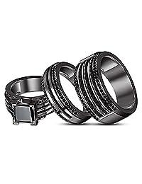 Princess & Round Cut Black CZ Diamond Engagement Wedding His & Her Trio Ring Set Black Gold Fn
