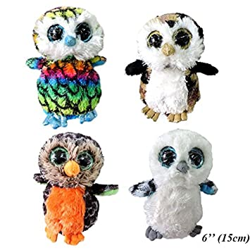 (1 Piece) 15cm Small Cute Owls Plush Pendant Stuffed Birds Peluche Big Eyes Animals