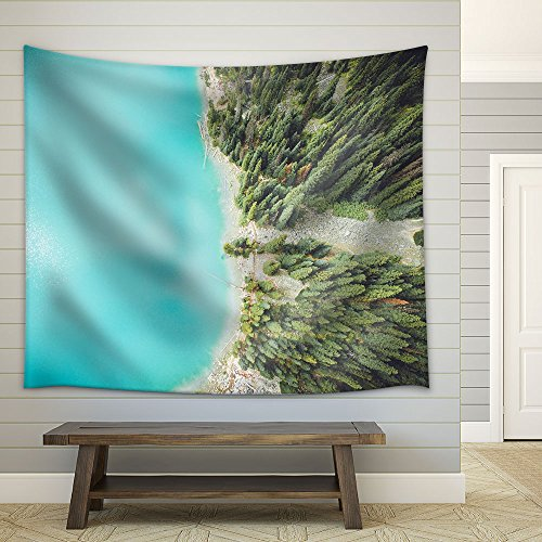 Eagle Eye View of Beautiful Scenery with Lake and Trees Fabric Wall