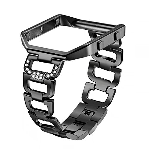 Enamel Diamond Mens Bands - bayite Stainless Steel Bands with Frame Compatible with Fitbit Blaze, Rhinestone Bling Replacement Accessory Straps Women, Black