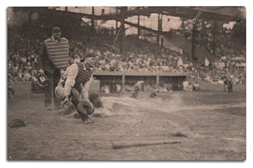 Lantern Press Lou Gehrig Sliding into Home Plate Baseball - Vintage Photograph (10x15 Wood Wall Sign, Wall Decor Ready to Hang)