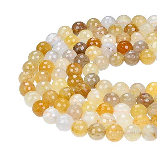 Bead Jewelry Making Golden Rutilated Quartz Faceted Round Loose Beads 15.5'' Long Size 8mm ()