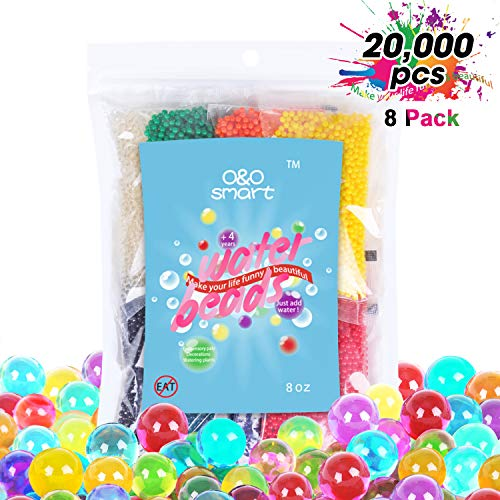 Water Beads 0.5lb (20,000 Beads), Non-Toxic Jelly beads for kids Tactile Sensory Toys, Plants, Vase, Spa Refill, Wedding and Home Decor, 8 Colors Separate Pack O&O smart Transparent Soft Beads