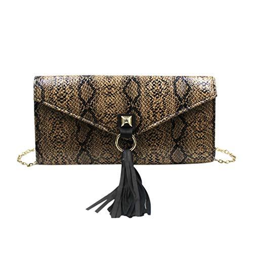 KINGSEVEN Women Fashion Snakeskin Pattern Handbag Envelope Purse Wallet Clutch Bag with Tassel Adjustable Strap Shoulder Bag