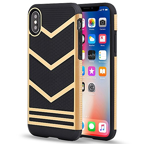 iPhone X Case, iPhone Xs Case, LOEV Anti-Slip Soft Rubber iPhone 10 Cover, [ Chevron Design] Ultra Slim and Anti-Scratch Shock-Absorption Protective Case for Apple iPhone X/Xs/10 5.8