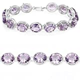 925 Sterling Silver Bracelet Genuine Amethyst 30.10 Ct Gemstone 7.25 inches