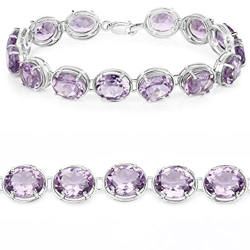 925 Sterling Silver Bracelet Genuine Amethyst 30.10 Ct Gemstone 7.25 inches by Universal Jewels (Image #3)