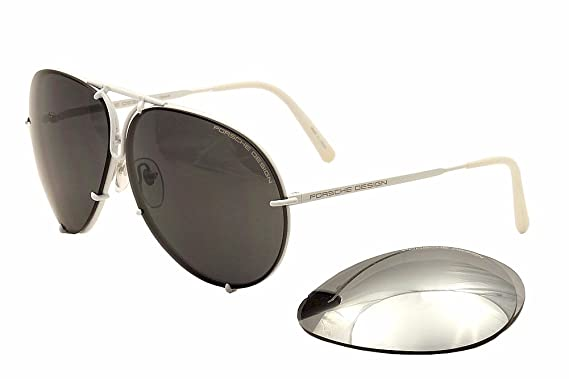 79645e04dc4 Porsche Design Model 8478P (White) Aviator Sunglasses with Extra Lenses  4  Sizes (