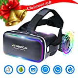 Electronics : 3D VR Headset Virtual Reality Glasses -for 3D Movies Video Games Comfortable VR Goggles with Stereo Adjustable Headphone Compatible with All IOS/Android Smartphones within