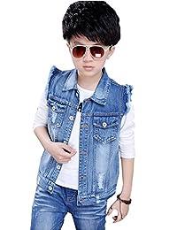 Kedera Boy's Sleeveless Denim Vest Ripped Jacket Gilet for 2-12 Blue