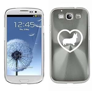 Samsung Galaxy S III S3 Aluminum Plated Hard Back Case Cover Corgi Heart (Silver)
