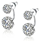 Infinite U 925 Sterling Silver Cubic Zirconia Earrings Jacket Double Ball Stud Earrings