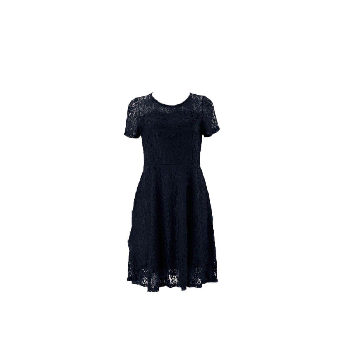 Coolred-Women Short Sleeve Solid Hollow Out Round Neck Lace Shift Dress