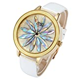 JSDDE Fashion Women Quartz Watch Crystal Flower Marker Dial Gold Case Genuine Leather Band Precision Movement 3 ATM Waterproof-White