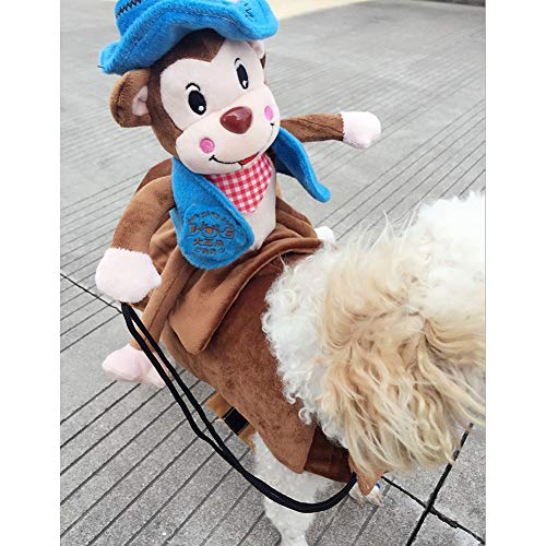 BeesClover Pet Dog Cosplay Costume with Monkey Outfit for Halloween Pet Costume Blue S