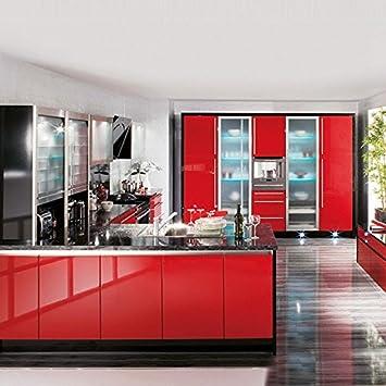 KINLO Selbstklebende Folie Küche Rot 61x500cm Aus Hochwertigem PVC  Aufkleber Küchenschränke Küchenfolie Klebefolie Tapeten Küche Wasserfest