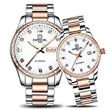 CARNIVAL Couple Watches Men and Women Automatic Mechanical Watch Fashion Chic for Her or His Set of 2 (Rose Gold White)
