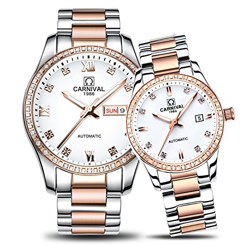 CARNIVAL Couple Watches Men and Women Automatic Mechanical Watch Fashion Chic for Her or His Set of 2 (Rose Gold White) by Carnival